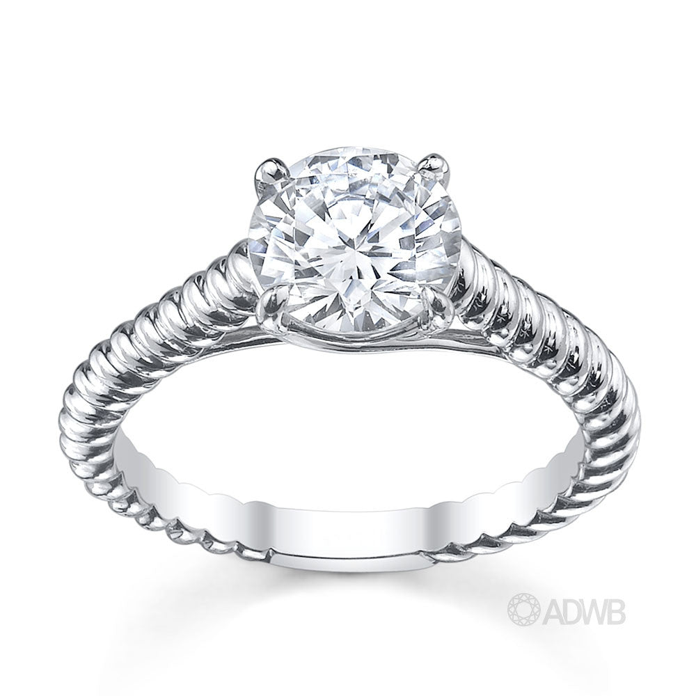 Rene round brilliant cut diamond solitaire rope band ring