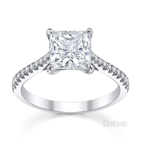 Princess cut diamond solitaire engagement ring with french pave set diamond