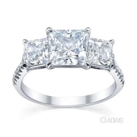 classic 3 stone princess cut diamond engagement ring in a micro pave set band