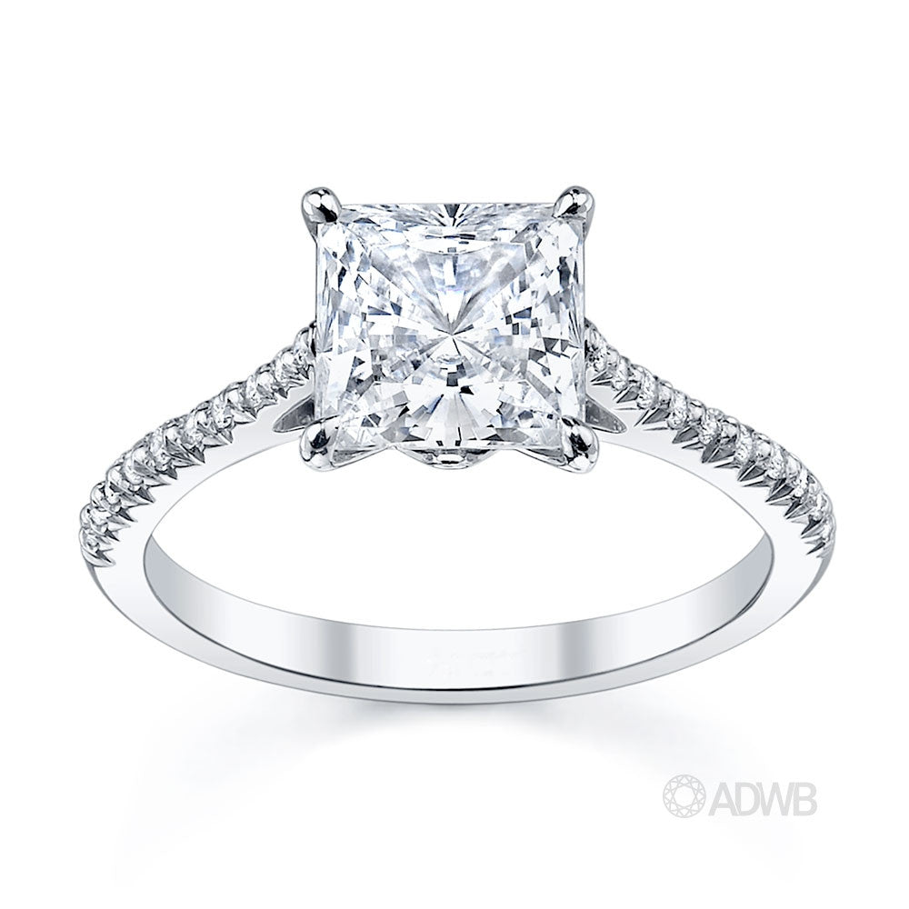 tiara princess cut diamond engagement ring with french pave set diamond band