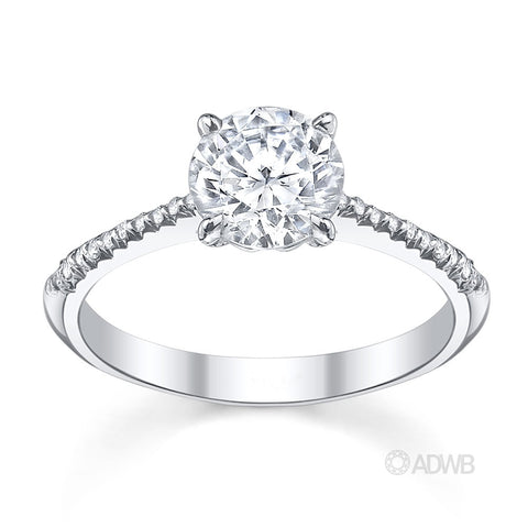 Emily round brilliant cut diamond solitaire engagement ring with micro pave set diamond band