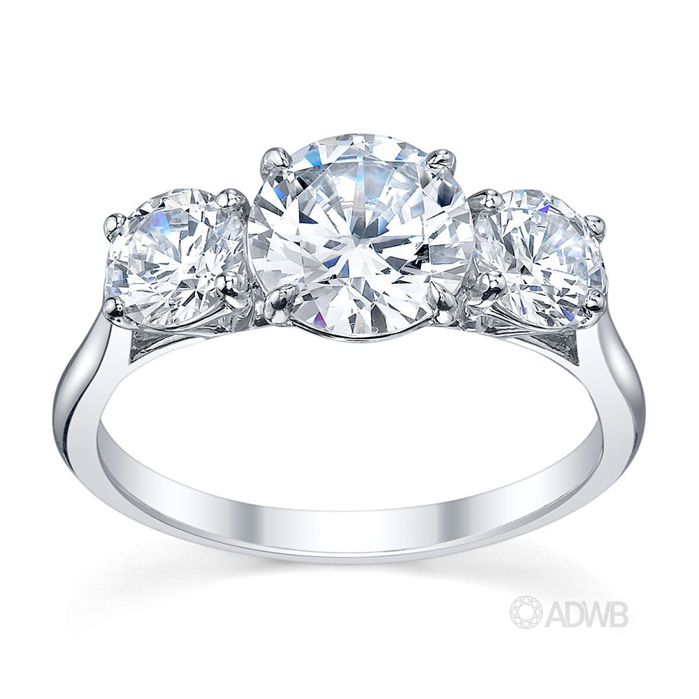 Classic 3 stone round brilliant cut diamond ring