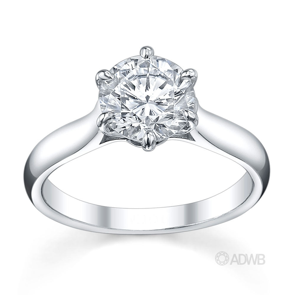 Australian Diamond Broker - Wide band 6 claw classic round brilliant cut diamond ring