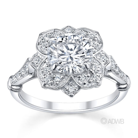 Star of Melbourne diamond halo engagement ring