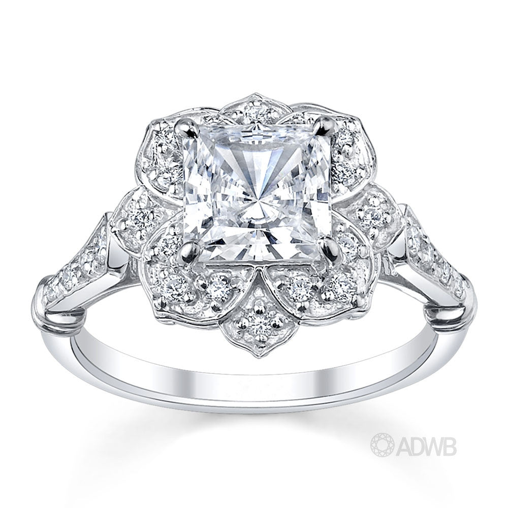 Custom made princess cut diamond halo engagement ring