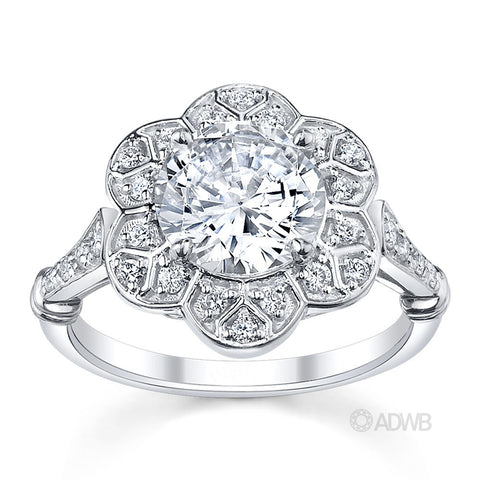lotus diamond halo engagement ring