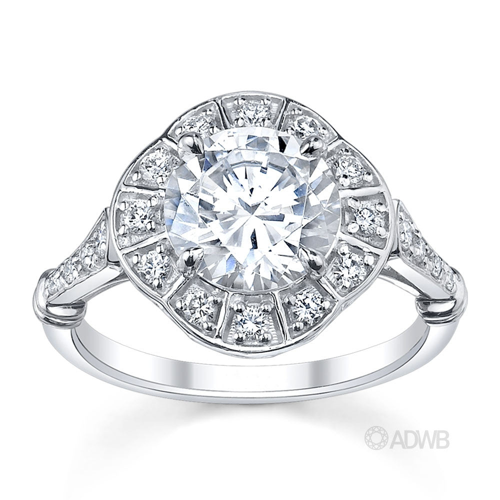 Australian Diamond Broker - Art Deco Style Diamond Halo Ring
