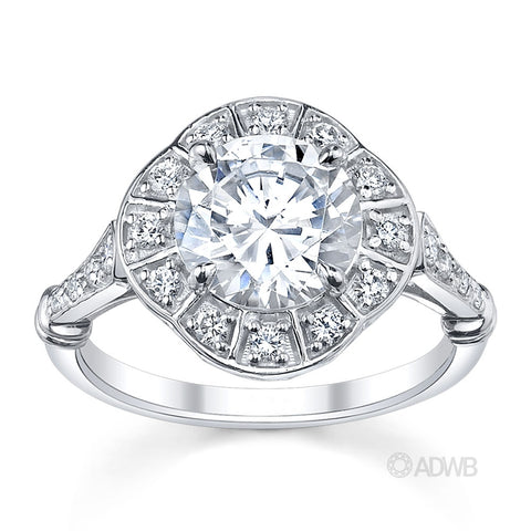Art Deco Style Diamond Halo Ring