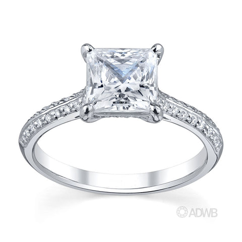 regal princess cut diamond engagement ring with grain set diamond knife edge band