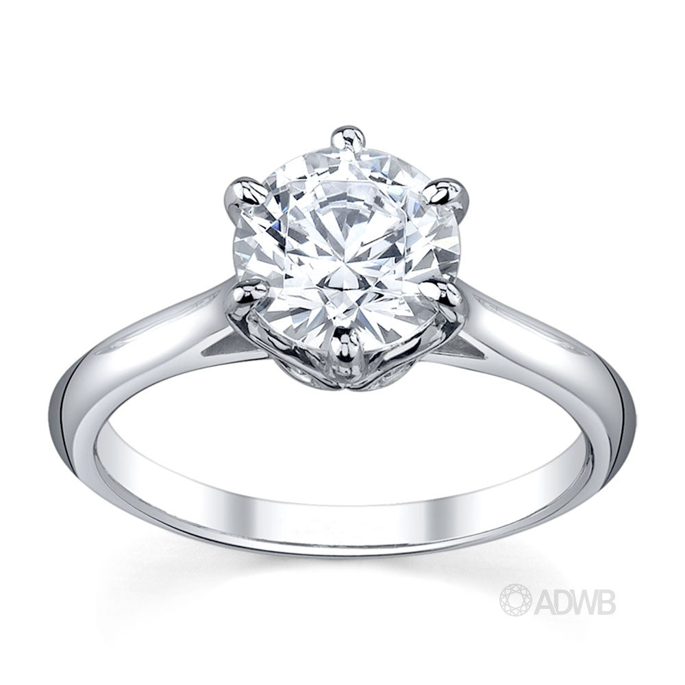 Australian Diamond Broker - Elegant 6 claw round brilliant cut diamond solitaire ring