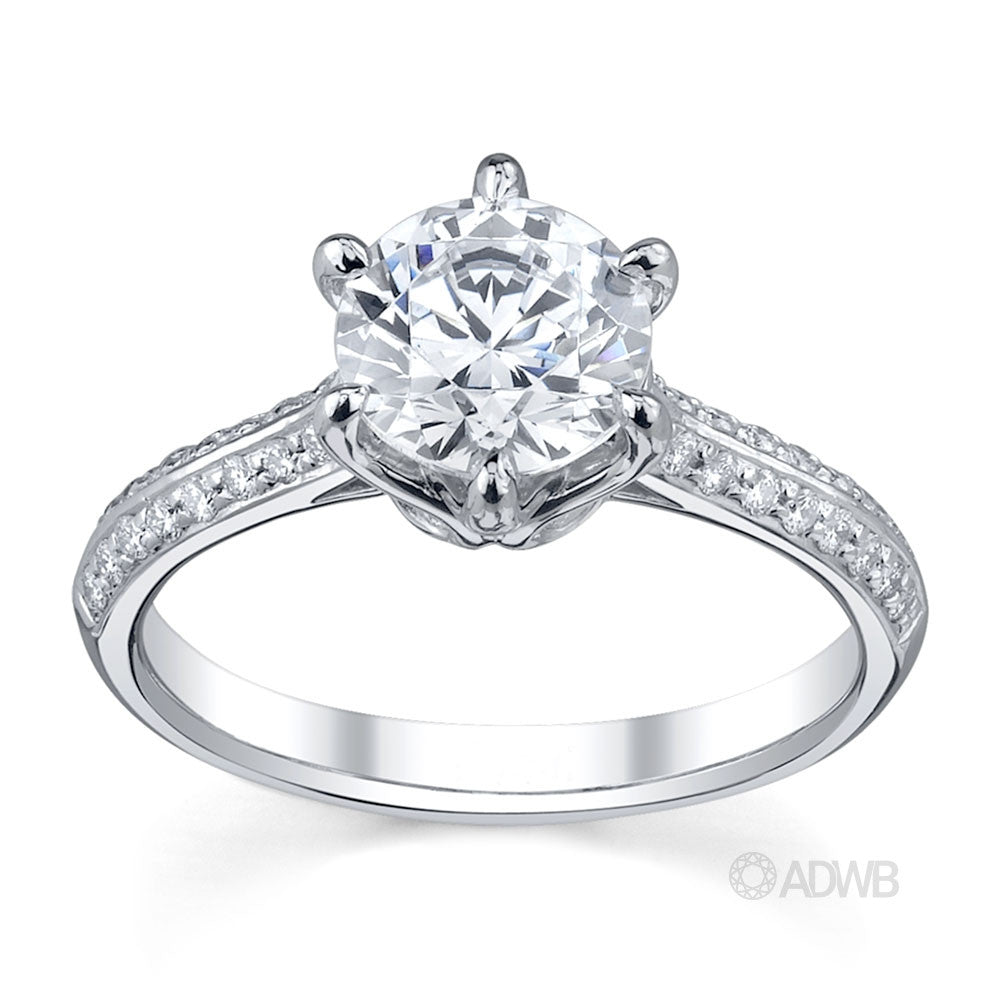 Elegant 6 claw round brilliant cut diamond solitaire ring with grain set diamond band