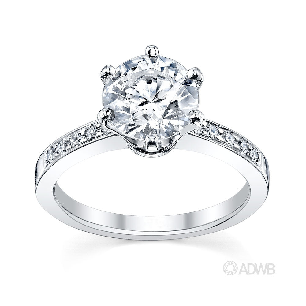 Australian Diamond Broker - Tiff 6 claw round brilliant cut diamond solitaire ring with grain set diamond band