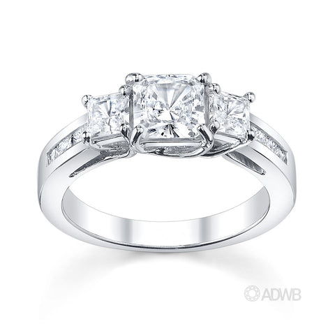 Classic 3 stone princess cut diamond ring with princess cut channel set band