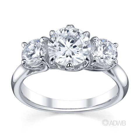 classic 3 stone, 6 claw round brilliant cut diamond engagement ring