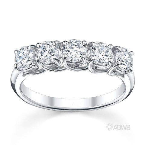 Classic 5 stone round brilliant cut diamond ring