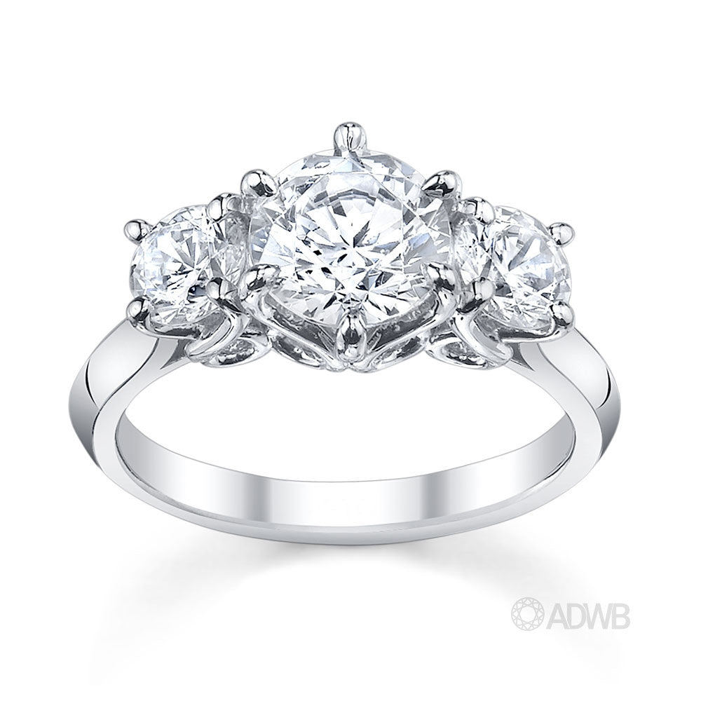 Australian Diamond Broker - Elegant 4 claw round brilliant cut diamond solitaire ring
