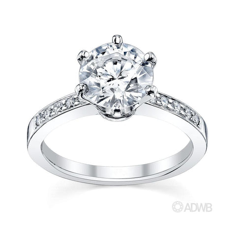 18ct white gold diamond solitaire ring with side diamonds
