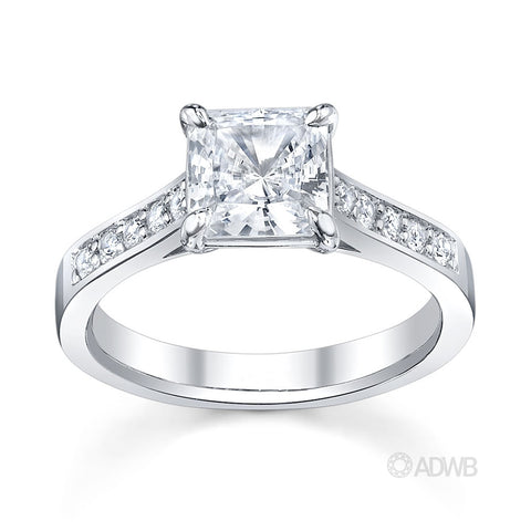 Classic Princess cut diamond ring-grain set diamond band