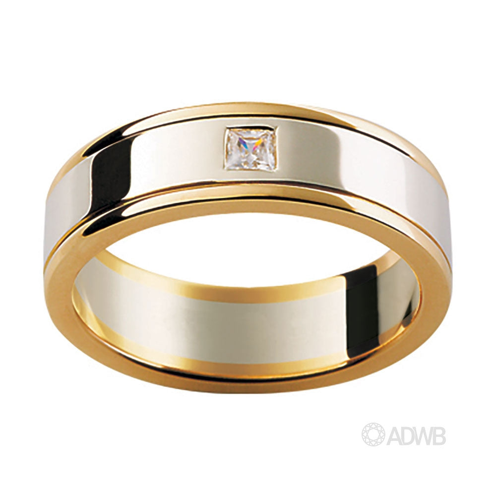 18ct White & Yellow Gold Diamond Set Band