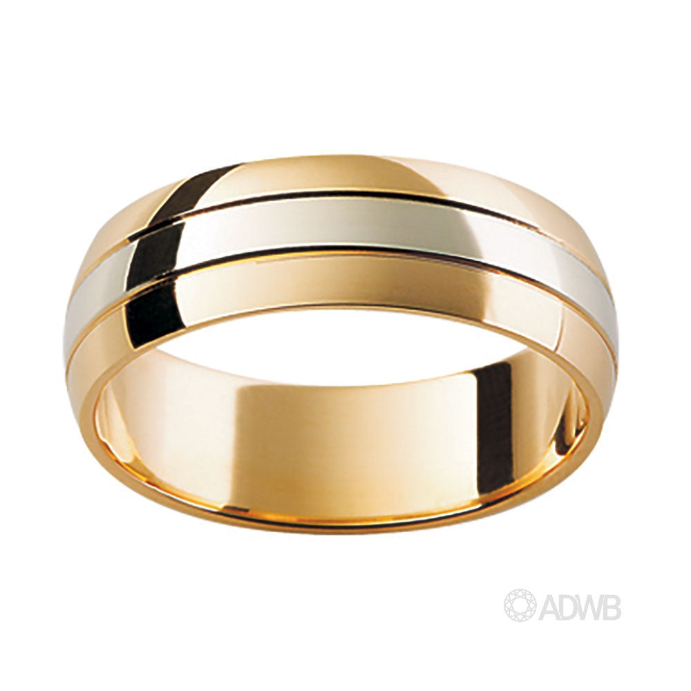 18ct Yellow and White Gold Domed Grooved Band