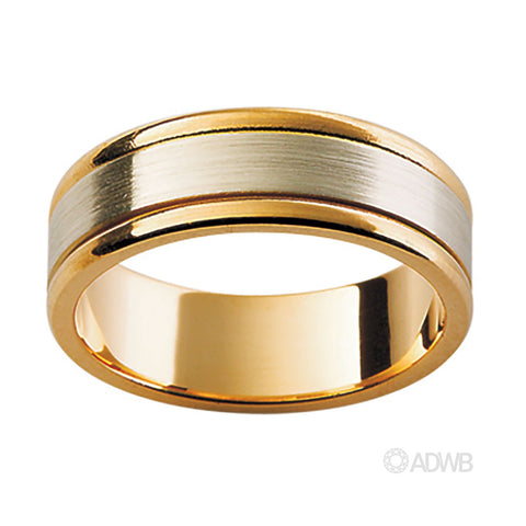 18ct White and Yellow Gold Flat Matt Finish Band