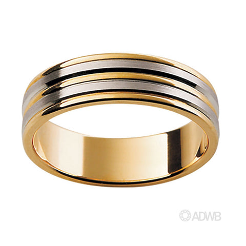 18ct White and Yellow Gold Raised Bar Band