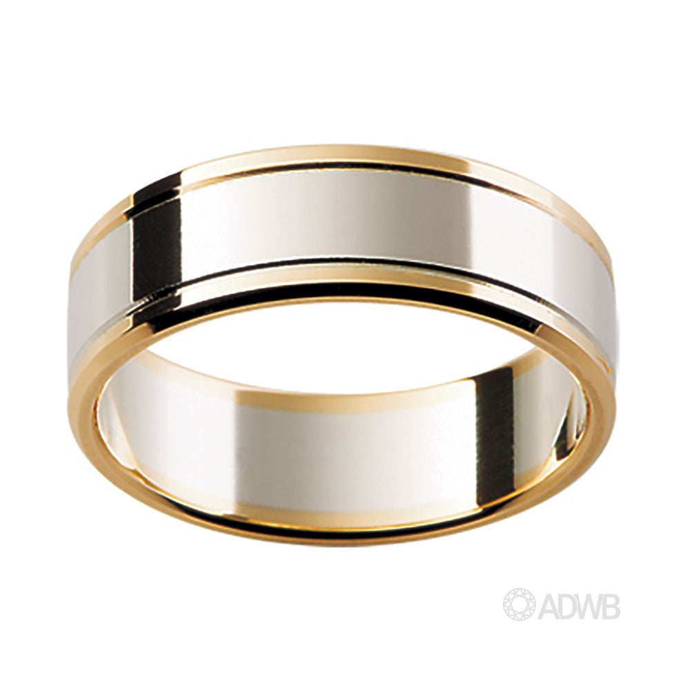 18ct White and Yellow Gold Flat Band