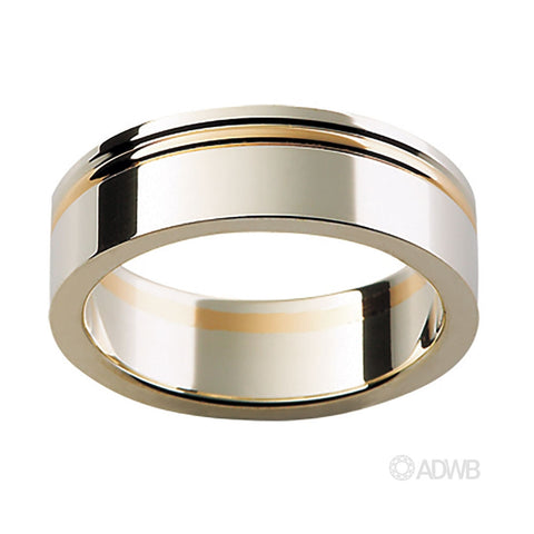 18ct White and Yellow Gold Flat Band with Strip