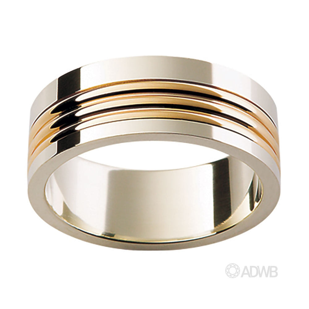18ct White and Yellow Gold Ribbed Band