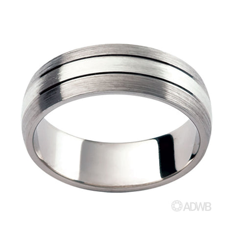 18ct White Gold Matt Finish Domed Grooved Band