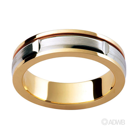 18ct Two Tone Matt Finish Groove Band