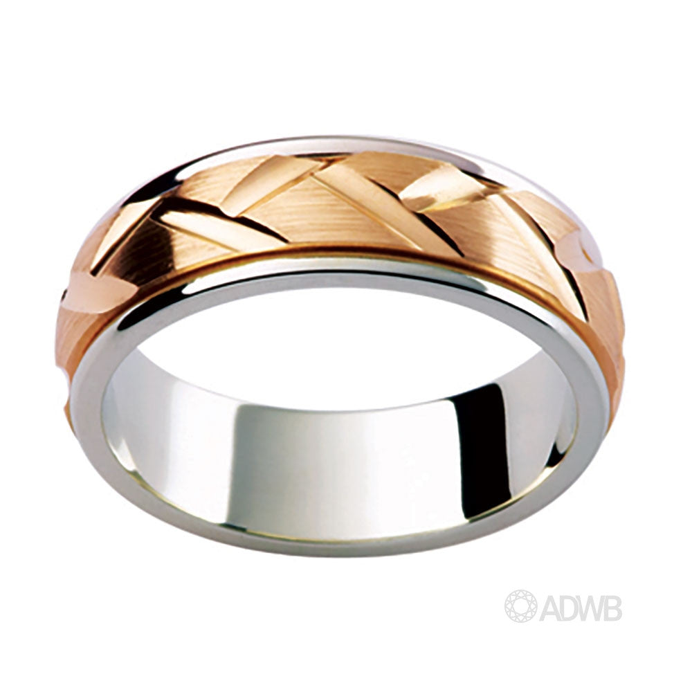 18ct Two Tone Woven Groove Band