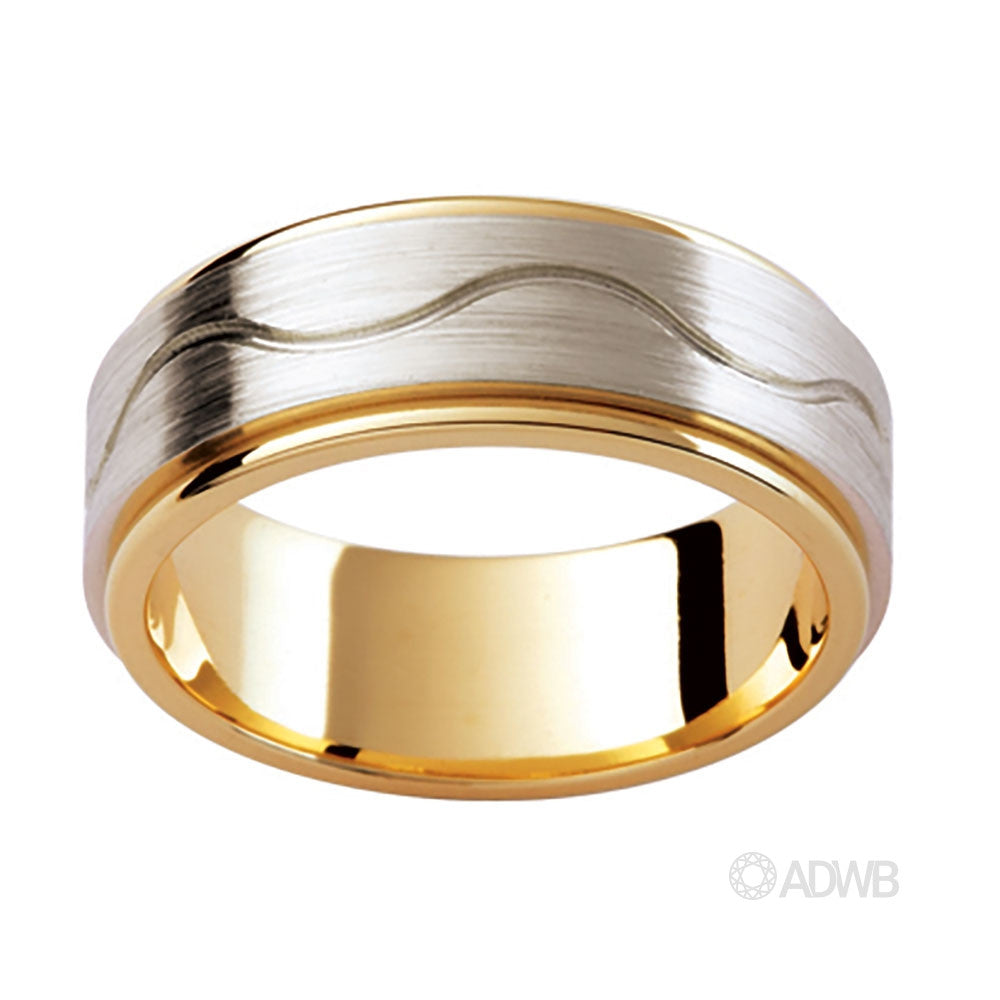 18ct White and Yellow Gold band with Swirling Groove