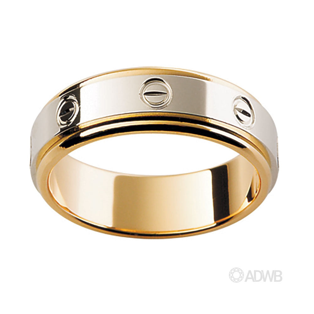 18ct White and Yellow Gold Band with Screw Design