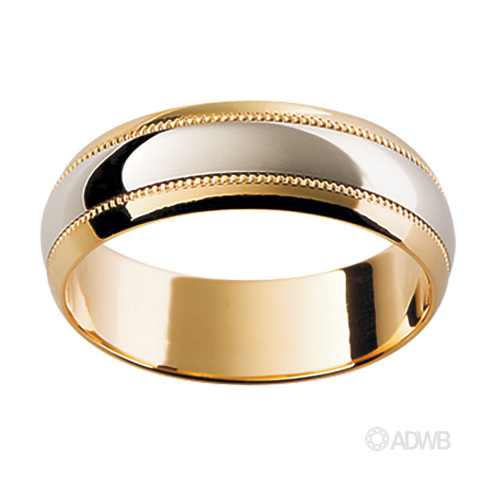 18ct White and Yellow Gold Band with Etched Pattern