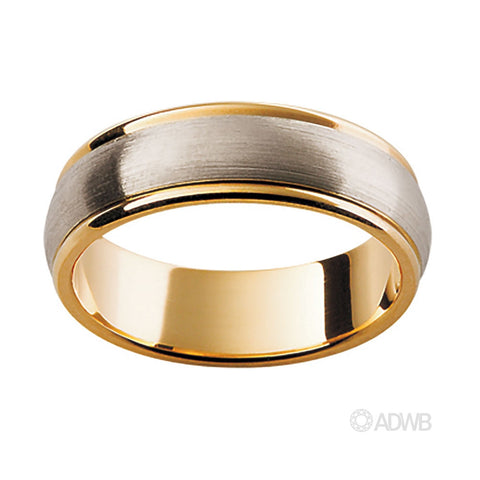 18ct White and Yellow Gold Band with Matt Finish Centre