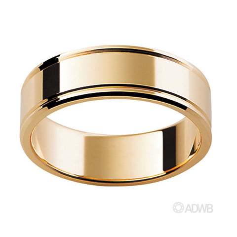18ct Yellow Gold Flat Band with Grooves on Sides