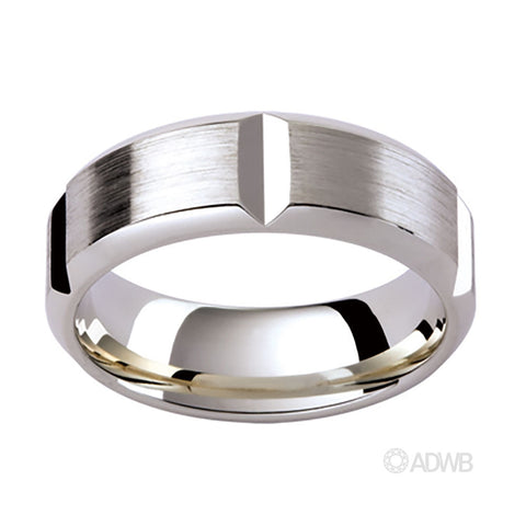 18ct White Gold Cut Out Grooved Band