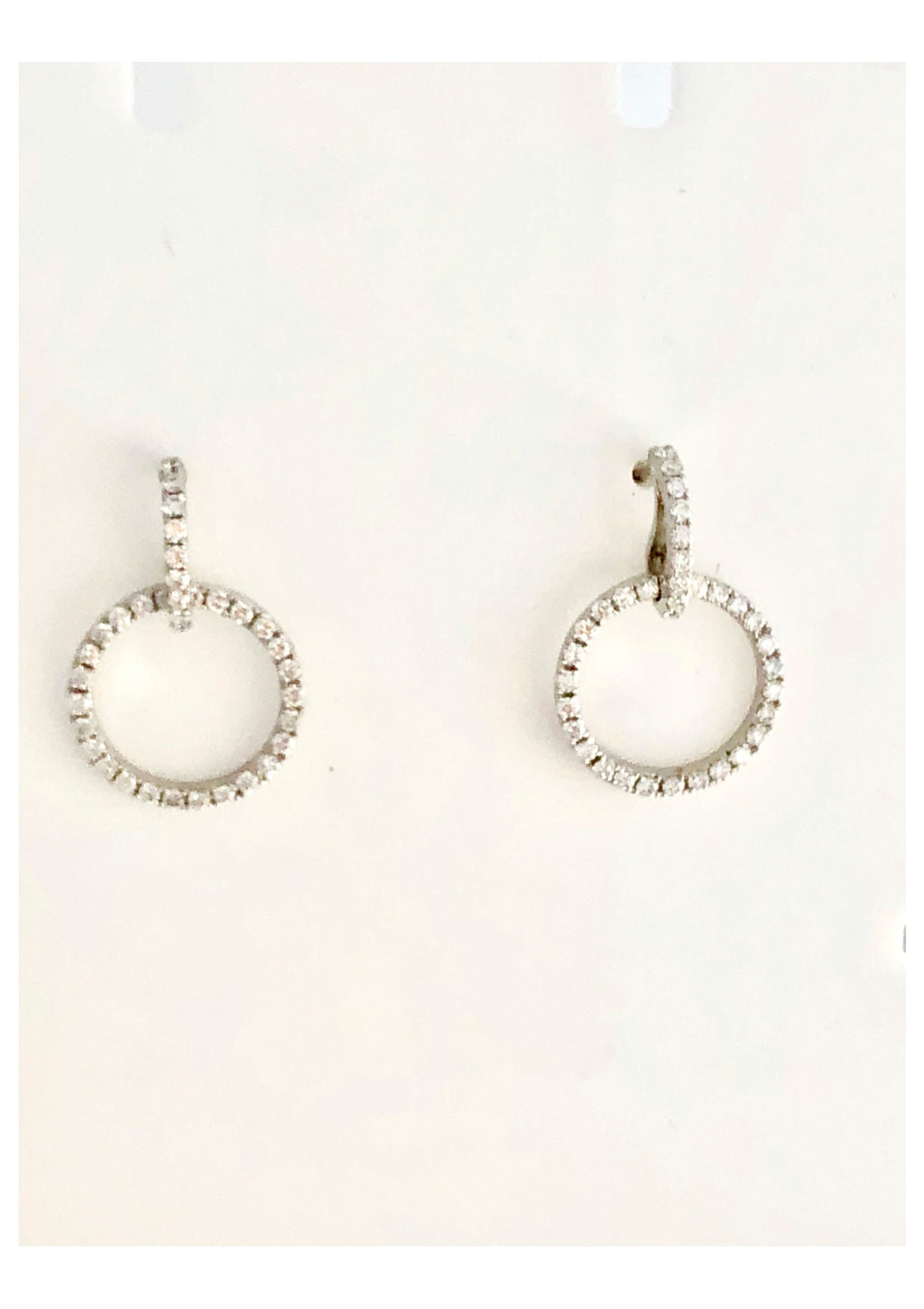 18ct white gold diamond drop circle earrings