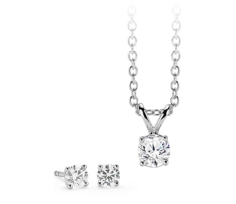 18ct white gold diamond pendant and earrings set