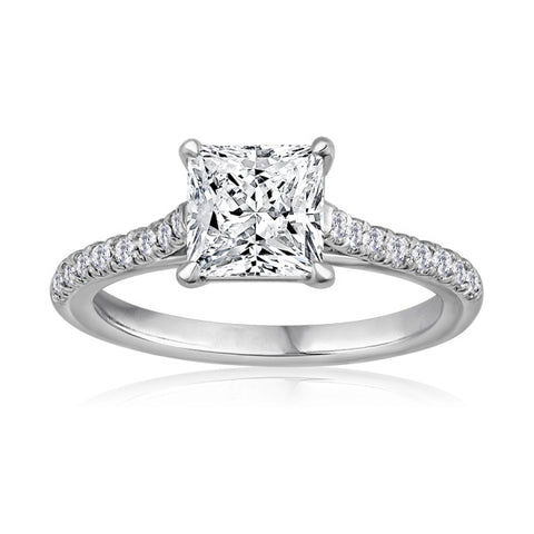 Elegant princess cut diamond solitaire engagement ring with french pave