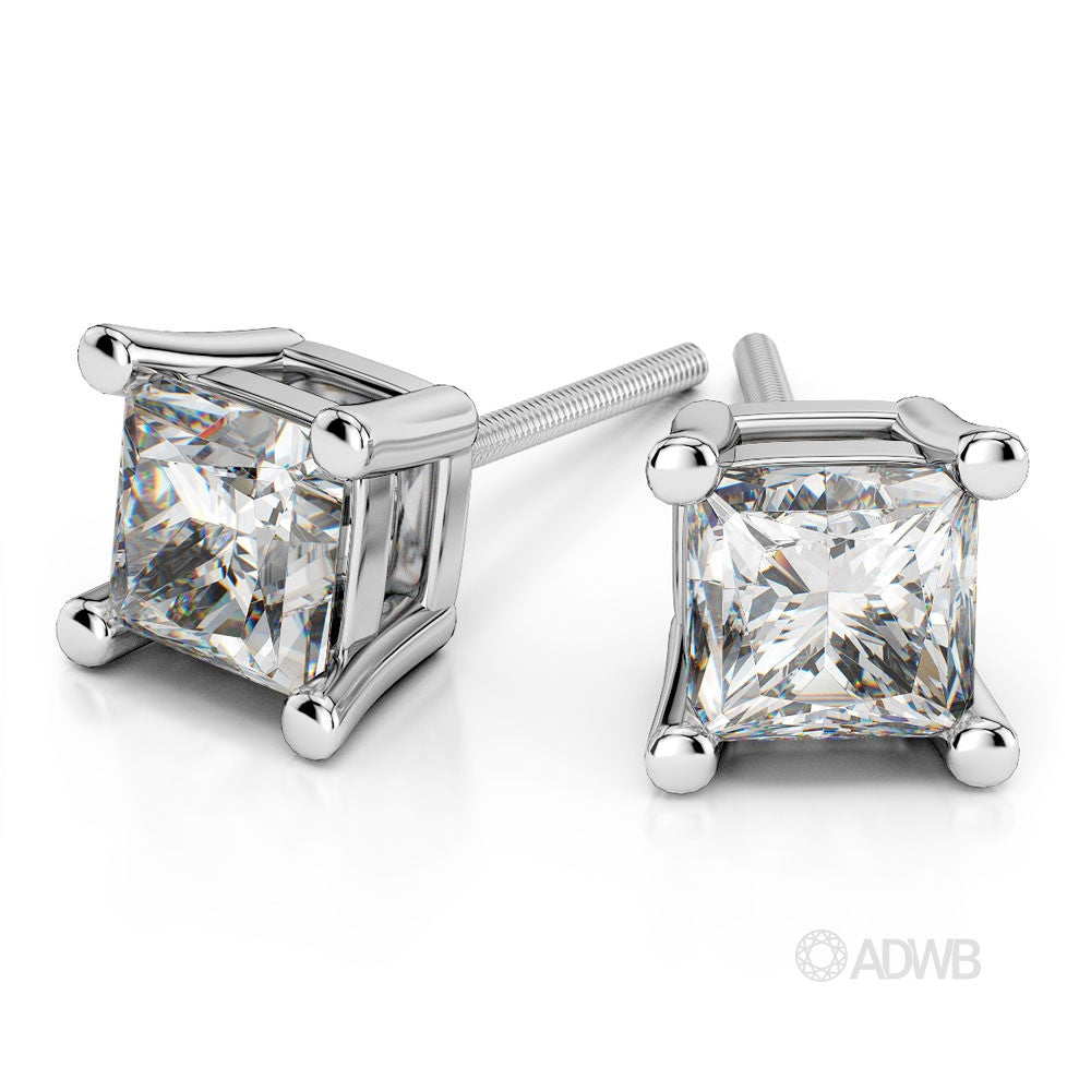 Custom Made princess cut diamond 4 claw earrings in 18ct white gold