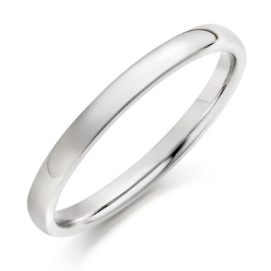 18ct white gold half round band