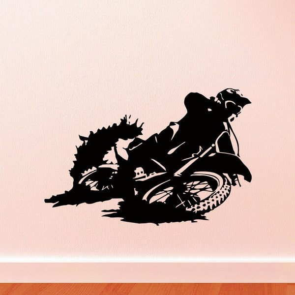 Motorcycle Silhouette Wall Stickers Motocross Home Decor Vinyl Adhesive