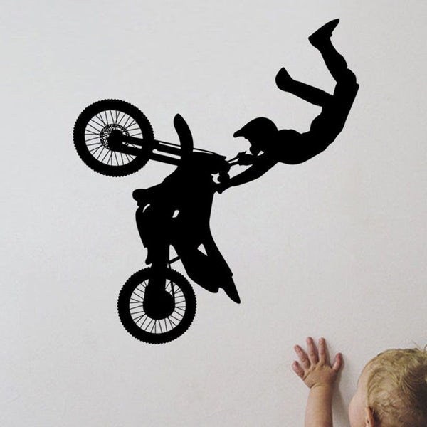 Black Printed Motocross Wall Stickers Kids Bedroom Wall Decorative Decal Vinyl