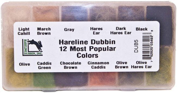 Hareline Dubbin 12 Most Popular Colors Dispenser