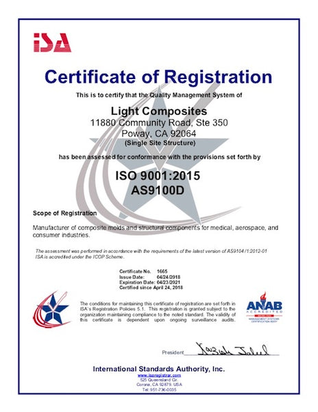 Light Composites (LTC) Announces Third Party Accreditation to AS9100D and ISO9001:2015