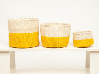 Alizeti - Yellow Woven African Basket - Set of 3 - MoLi Products