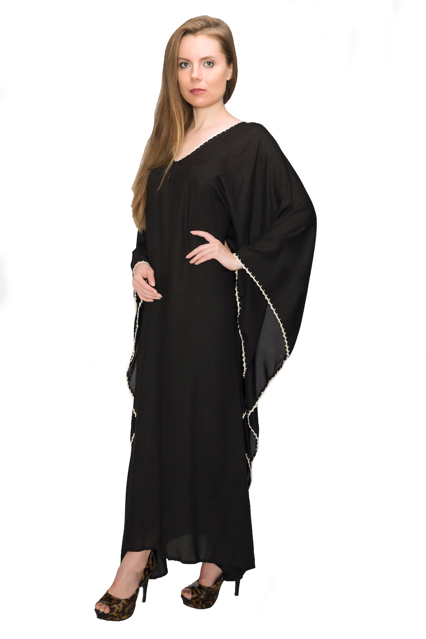 Caftan Sleepwear Dress Pajama Handmade Crochet Egyptian Cotton Home Clothing (Black)