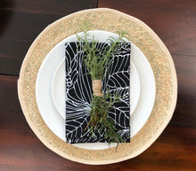 100% Egyptian Cotton Cloth Napkins 12 Pack (Black Pattern)